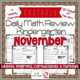 Math Morning Work Kindergarten November Editable, Spiral R