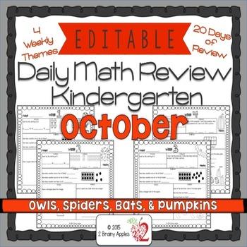 Math Morning Work Kindergarten October Editable