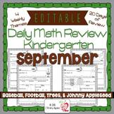 Math Morning Work Kindergarten September Editable, Spiral