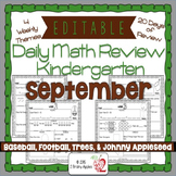 Math Morning Work Kindergarten September Editable