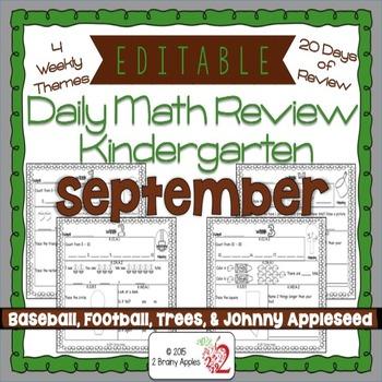 Math Morning Work Kindergarten September Editable