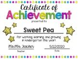 EDITABLE Kindergarten End of the Year Certificate of Achievement Award