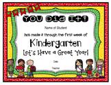 EDITABLE - Kindergarten First Week Certificate