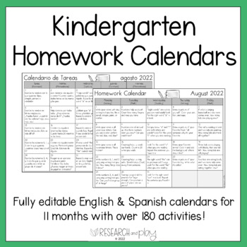 Editable Kindergarten Monthly Homework Calendars By Research And Play
