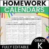 Editable Kindergarten Monthly Homework Calendars in Englis
