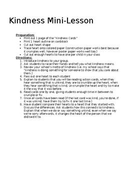 EDITABLE Kindness Mini-Lesson