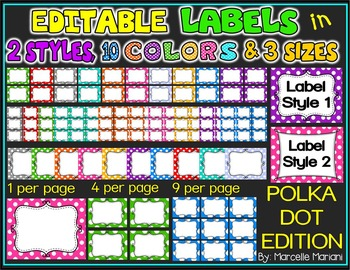 EDITABLE LABELS IN 2 STYLES, 10 COLORS AND 3 SIZES (POLKA DOTS)