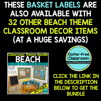 EDITABLE LABELS for BEACH THEME by CLUTTER FREE CLASSROOM