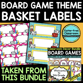 EDITABLE LABELS for BOARD GAME THEME by CLUTTER FREE CLASSROOM