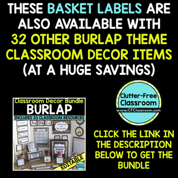 EDITABLE LABELS for BURLAP THEME by CLUTTER FREE CLASSROOM