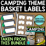 EDITABLE LABELS for CAMPING THEME by CLUTTER FREE CLASSROOM