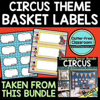 EDITABLE LABELS for CIRCUS THEME by CLUTTER FREE CLASSROOM