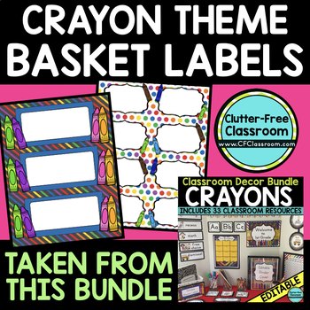 EDITABLE LABELS for CRAYON THEME by CLUTTER FREE CLASSROOM