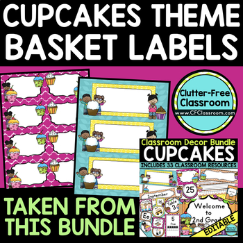 EDITABLE LABELS for CUPCAKE THEME by CLUTTER FREE CLASSROOM