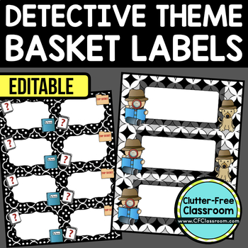 EDITABLE LABELS for DETECTIVE THEME by CLUTTER FREE CLASSROOM