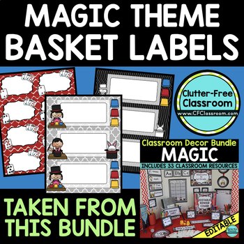 EDITABLE LABELS for MAGIC THEME by CLUTTER FREE CLASSROOM
