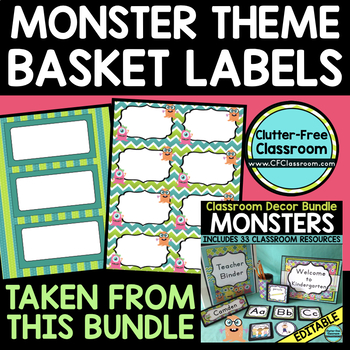 EDITABLE LABELS for MONSTER THEME by CLUTTER FREE CLASSROOM