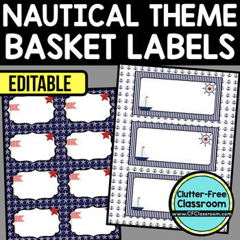 EDITABLE LABELS for NAUTICAL THEME by CLUTTER FREE CLASSROOM