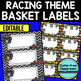EDITABLE LABELS for RACING THEME by CLUTTER FREE CLASSROOM