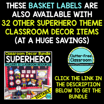 EDITABLE LABELS for SUPERHERO THEME by CLUTTER FREE CLASSROOM