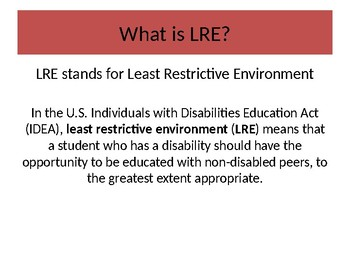 EDITABLE LEAST RESTRICTIVE ENVIRONMENT MODEL POWERPOINT; SPECIAL EDUCATION