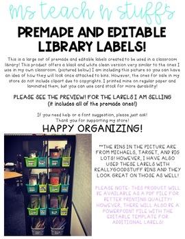 editable library book bin labels black white by ms teach n stuff