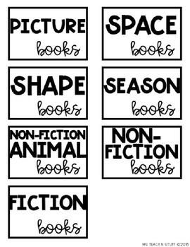 EDITABLE LIBRARY BOOK BIN LABELS-BLACK/WHITE