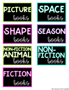 EDITABLE LIBRARY BOOK BIN LABELS-BLACK & BRIGHTS EDITION