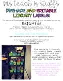 EDITABLE LIBRARY BOOK BIN LABELS-WHITE/BRIGHTS EDITION