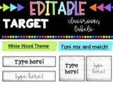 EDITABLE Labels * Fits Target Adhesive Label Pockets * White wood