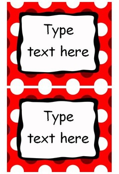 EDITABLE Labels - Red Pack