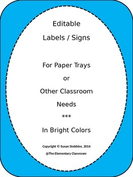 EDITABLE Labels / Signs for Paper Trays in Classroom in bright colors