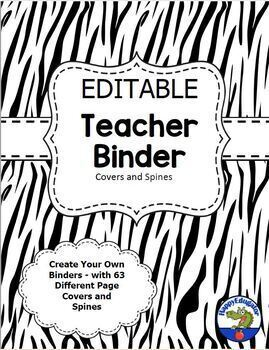 Labels and Teacher Binder Covers - Zebra Print EDITABLE - BUNDLE