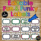 EDITABLE Labels for Classroom Organization, Decor, Stripes & Polka Dots