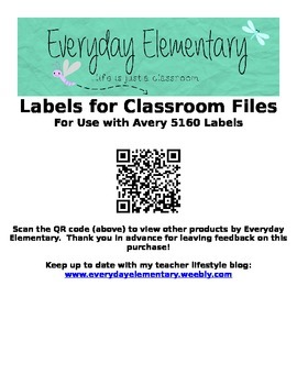 EDITABLE Labels for Elementary Classroom Files - Formatted for Avery 5160 Labels