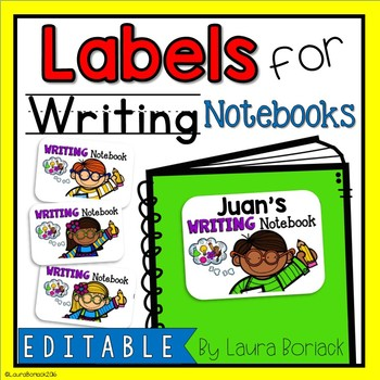 EDITABLE Labels for Writing Notebooks