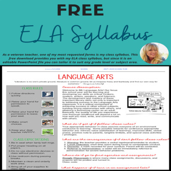 Editable Language Arts Syllabus  Tpt