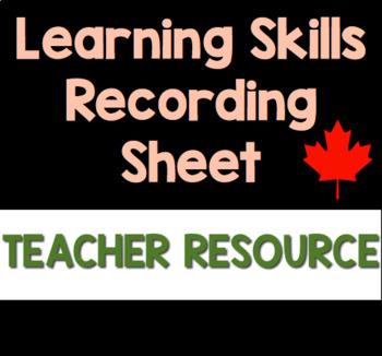 Learning Skills Recording Sheet