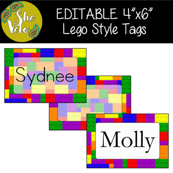 EDITABLE Lego Style Name Tags, Bin Labels, Word Wall, Locker Tags