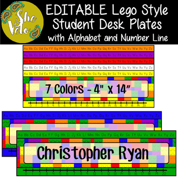 EDITABLE Lego Style Student Desk Plates with Alphabet & Number Line