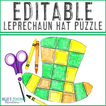 EDITABLE Leprechaun Hat Puzzle - Create your own activity on ANY topic!