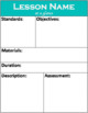 EDITABLE: Lesson Plan At A Glance