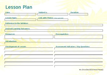 EDITABLE Lesson Plan Landscape - Gold Pineapple Template