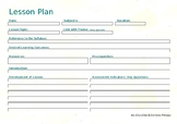 EDITABLE Lesson Plan Landscape - Lemon Template