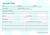EDITABLE Lesson Plan Landscape - Polka Dot Template