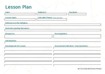 EDITABLE Lesson Plan Landscape - Rose Gold Template