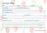 EDITABLE Lesson Plan Landscape - Strawberries Template