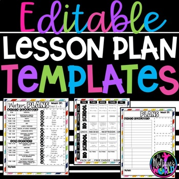 EDITABLE Lesson Plan Template