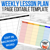 EDITABLE Lesson Plan Template Word, One Page Teacher Planner
