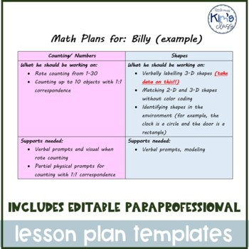 EDITABLE Lesson & Zoning Plans for Special Ed Paraprofessionals